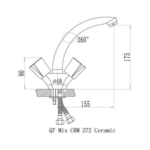 Кухонный смеситель Q-tap Mix CRM-272 Ceramic