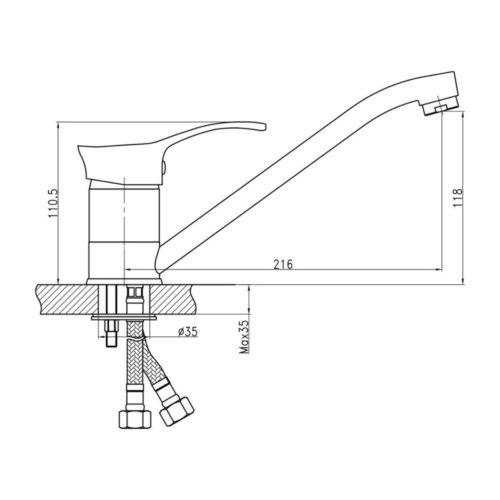 Кухонный смеситель Q-tap Tenso CRM-002