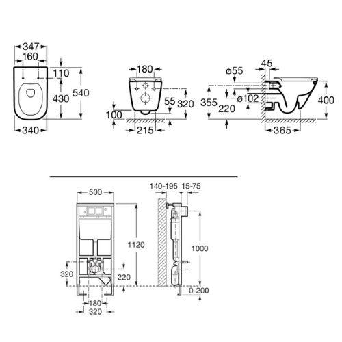 Набор инсталляция Roca Pro с унитазом A89009000R