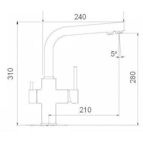 Смеситель кухонный Globus Lux LAZER GLLR-0444 St STEEL