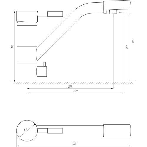 Смеситель кухонный Globus Lux LAZER GLLR-0555 St STEEL