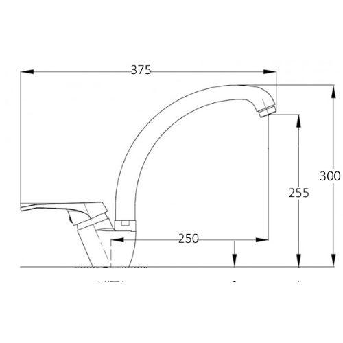 Смеситель кухонный Globus Lux LAZER GLLR2-203S-BIG