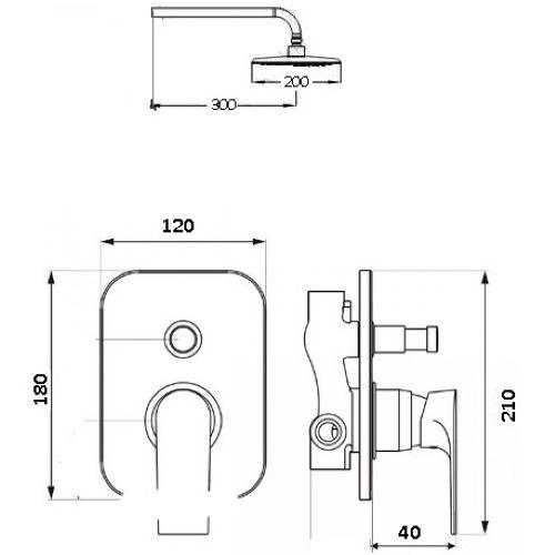 Душевая система скрытого монтажа Globus Lux QUEENSLAND GLQU-0205S