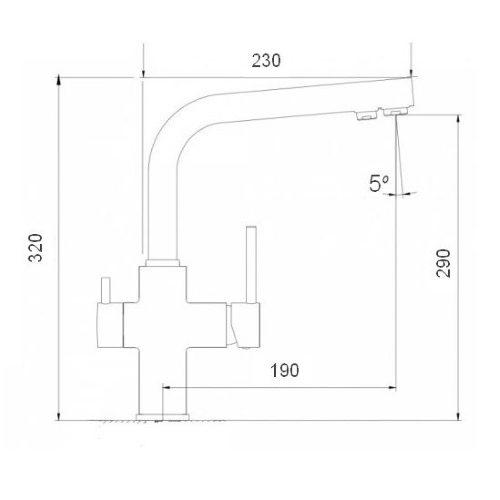 Смеситель кухонный Globus Lux SUS-0888-1_D40