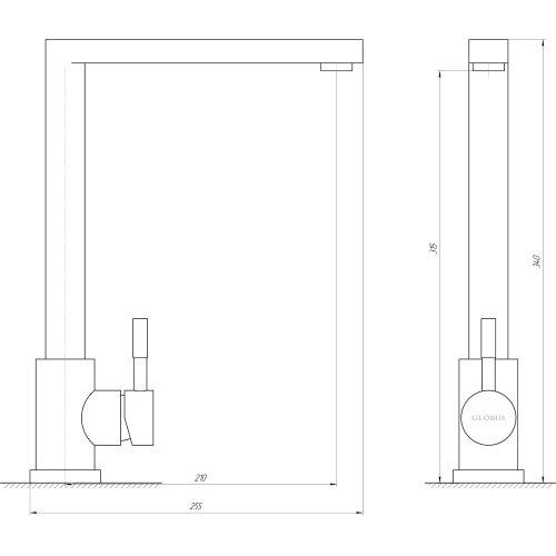 Смеситель кухонный Globus Lux SHG-203M