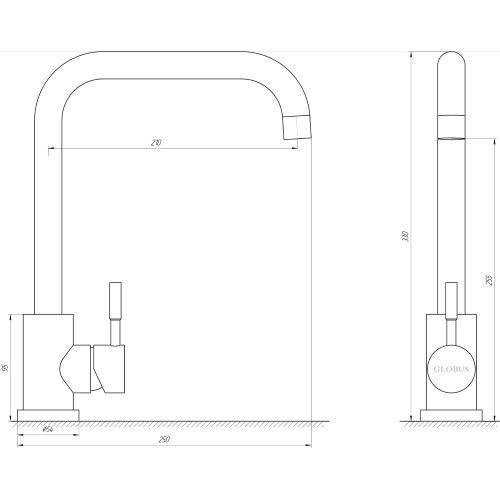 Смеситель для кухни Globus Lux SUS-203L-BB