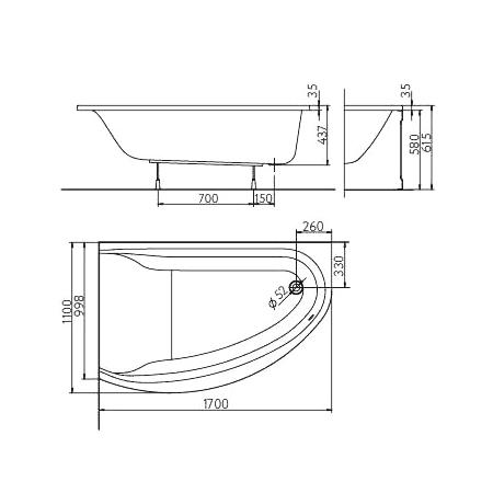 MIRRA ванна 170*110см асимметричная левая, с ножками SN8 и элементами крепления + сифон Simplex  для ванны автомат 560мм