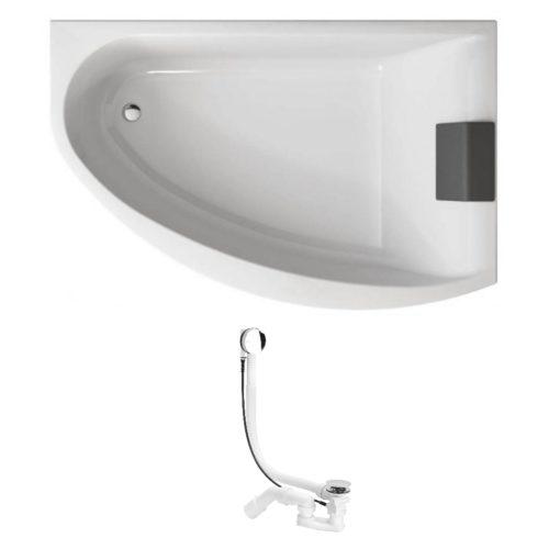 MIRRA ванна 170*110см асимметричная, правая, с ножками SN8, элементами крепления и подголовником + Viega Simplex сифон для ванны автомат 560мм