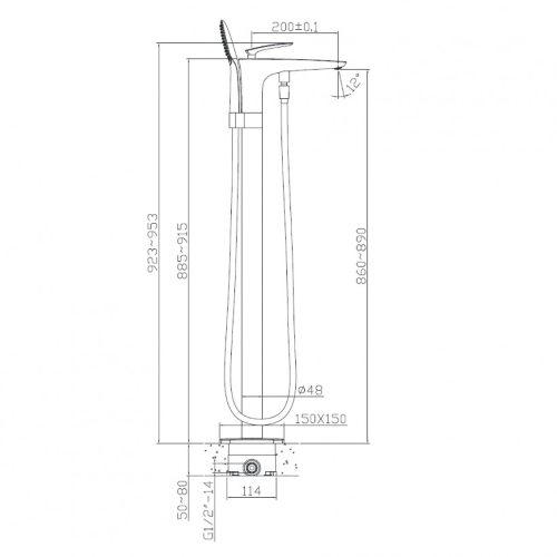 Смеситель для ванны напольный VOLLE 12-33-101