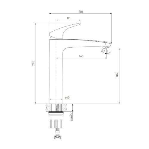 Высокий смеситель для раковины VOLLE ORLANDO 15191200