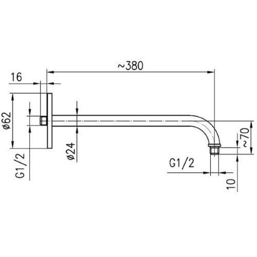 Держатель для верхнего душа KFA Armatura Hexa Ring 380 мм 835-030-00