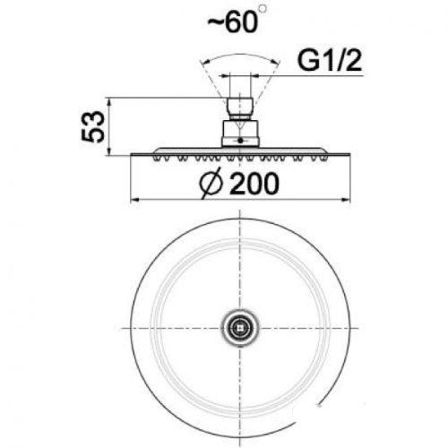 Душевая лейка KFA Armatura Hexa Ring 20х20 842-351-00BL