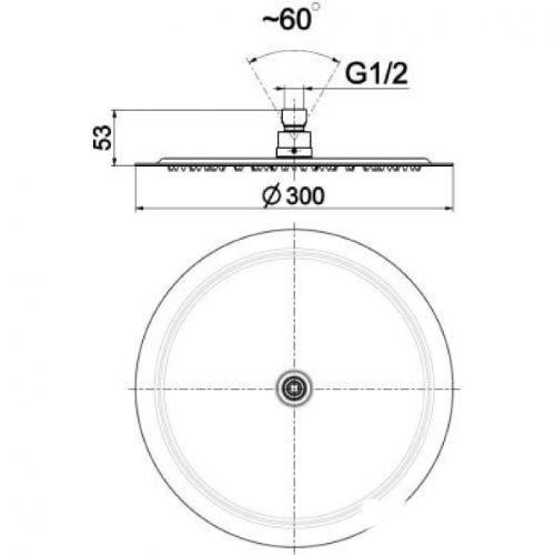 Душевая лейка KFA Armatura Hexa Ring 30х30 842-371-00BL