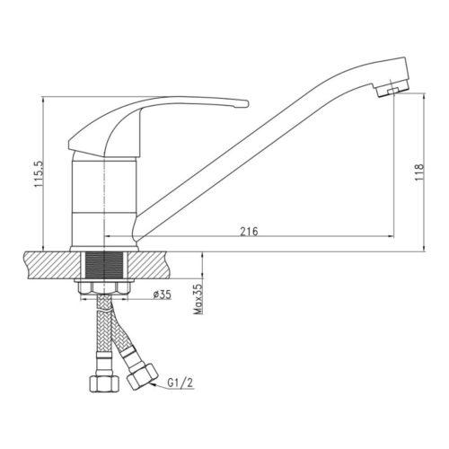 Кухонный смеситель Q-tap Mars 003