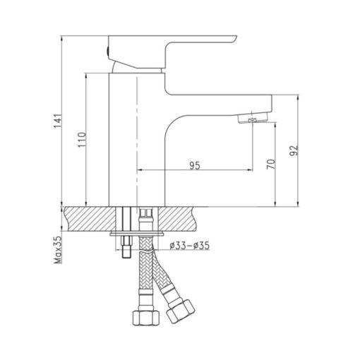 Смеситель литой для умывальника Eco-001 (Q-Tap)