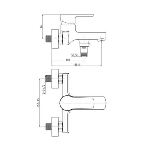 Смеситель литой для ванны Eco-006 (Q-Tap)