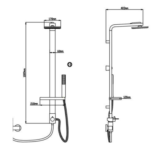 Душевая панель Q-tap QT-1103 CRM