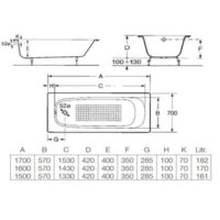 Ванна Roca Continental 150×70 A21291300R+A150412330