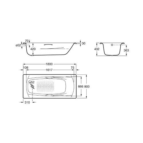 Ванна Roca Swing 180×80 A220070001+A291030000 + ручки + ножки