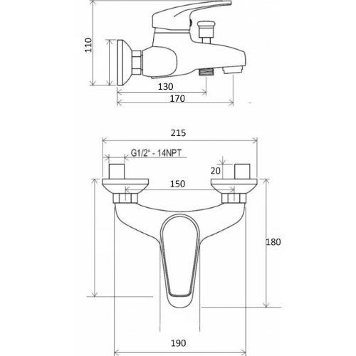 Смеситель для ванны CRISTAL Favorit New GNFF-102