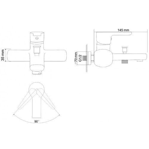Cмеситель для ванны ROZZY JENORI Duct RBZ079-3