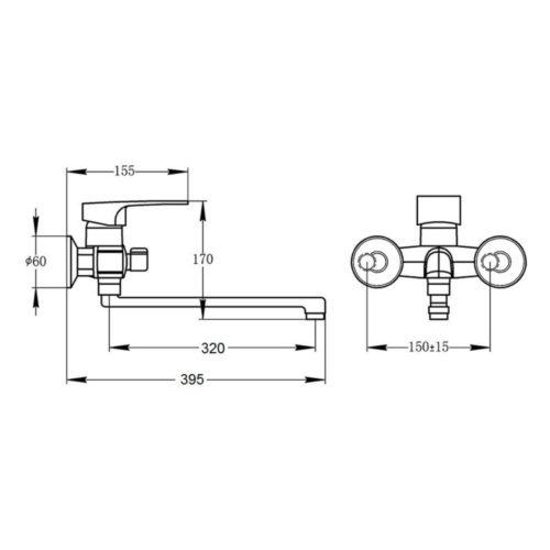 Смеситель для ванны POTATO P2230-6