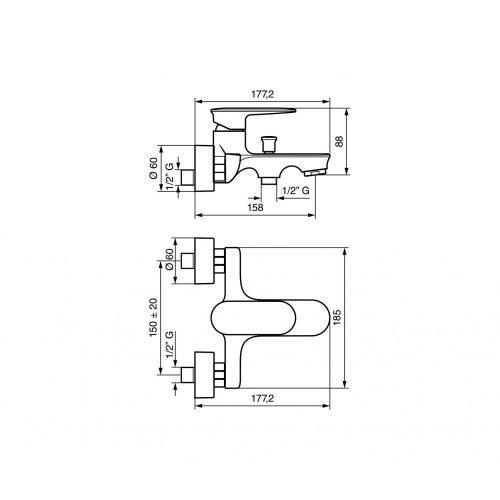 Смеситель для ванны EMMEVI KIRY CR88001