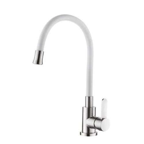 Смеситель для кухни с силик. изл. из нерж. cт. SUS304 IBERGRIF M22119-3 (цв. излива белый) IB0064