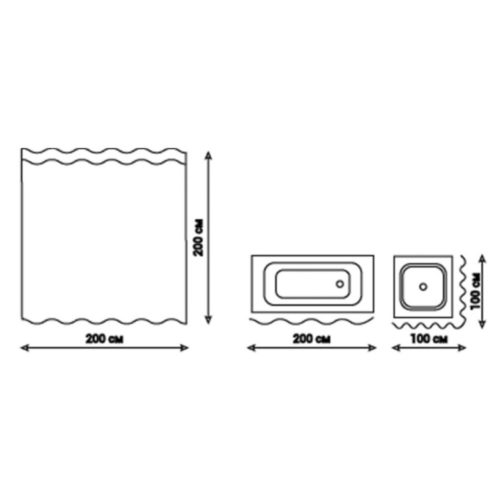Шторка для ванной 200*200 Qtap Tessoro PA11141 28586Qtap (Чехия)