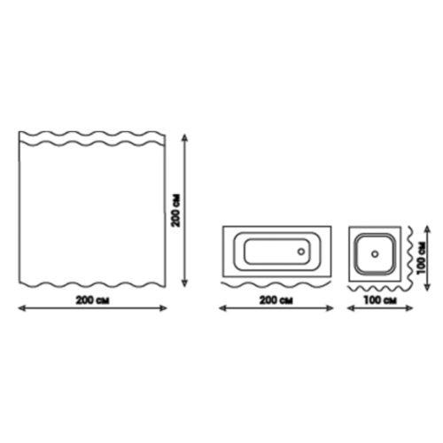 Шторка для ванной Qtap Tessoro PA62774 200*200 28593Qtap (Чехия)