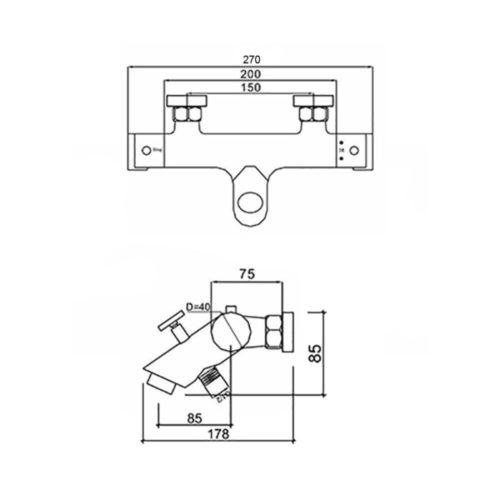 Смесителя для ванны Qtap Inspai-Therm CRM T300600 29304Qtap (Чехия)