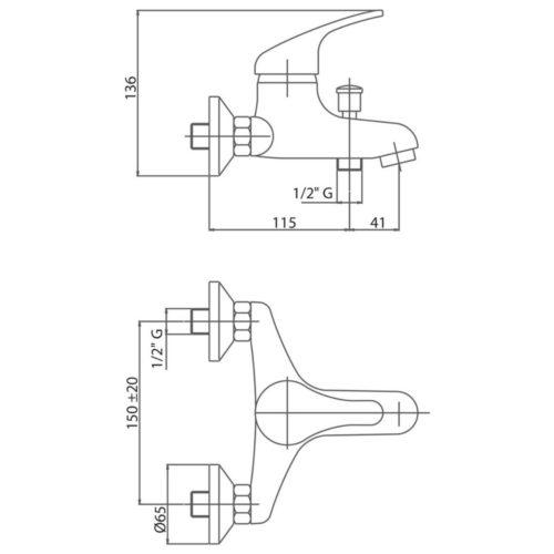 Смеситель для ванны Bianchi Star Crm VSCSTR 2004SK CRM