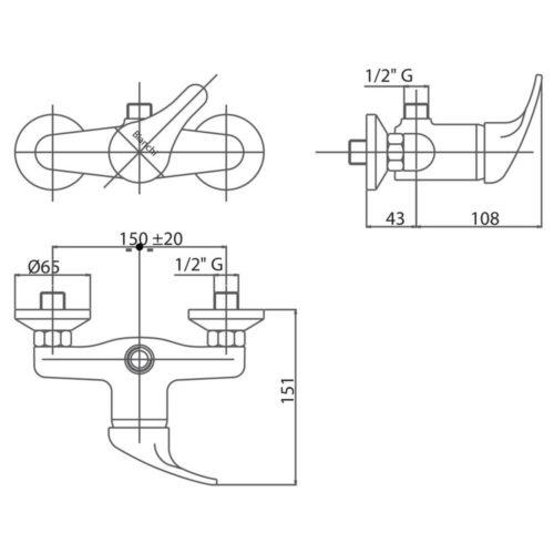 Смеситель для душа Bianchi Star Crm ESDSTR 2035SK CRM