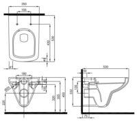 NOVA PRO унитаз подвесной Rimfree, прямоугольный (пол)