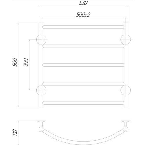 Эл. полотенцесушитель левое подкл. Qtap Classic (CRM) P5 500×500 LE 29232Qtap (Чехия)