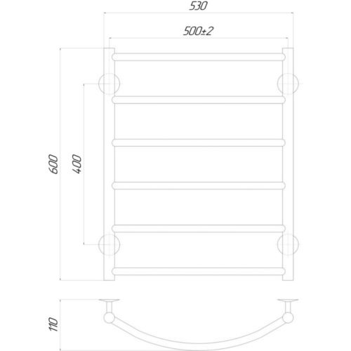 Эл. полотенцесушитель правое подкл. Qtap Classic (CRM) P6 500×600 RE 29234Qtap (Чехия)