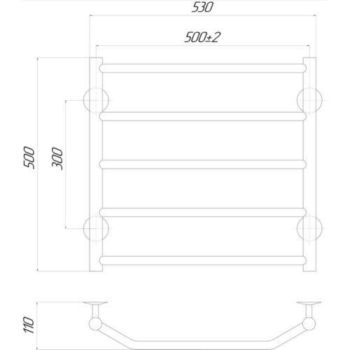 Эл. полотенцесушитель правое подкл. Qtap Trapezium (CRM) P5 500×500 RE 29239Qtap (Чехия)