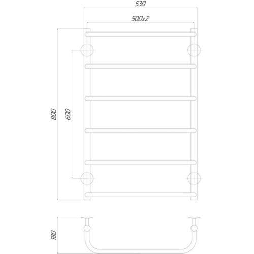 Эл. полотенцесушитель правое подкл. Qtap Standard (CRM) P6 500×800 RE 29246Qtap (Чехия)