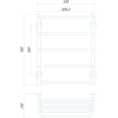 Эл. полотенцесушитель правое подкл. с полкой Qtap Standard shelf (CRM) P5 500×700 RE 29247Qtap (Чехия)
