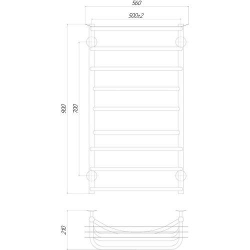 Эл. полотенцесушитель правое подкл. Qtap Yunost (CRM) P9 500×900 RE 29252Qtap (Чехия)
