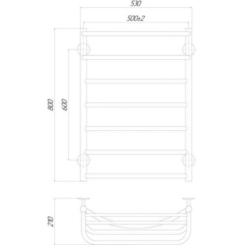 Эл. полотенцесушитель левое подкл. Qtap Hotel (CRM) P7 500×800 LE 29265Qtap (Чехия)