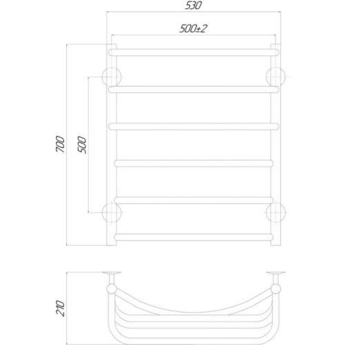 Эл. полотенцесушитель левое подкл. Qtap Cascade (CRM) P6 500×700 LE 29272Qtap (Чехия)