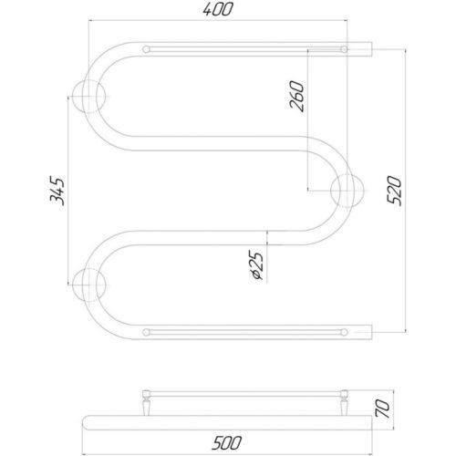 Эл. полотенцесушитель с полкой правое подкл. Qtap Snake shelf (CRM) 500×500 RE 29277Qtap (Чехия)
