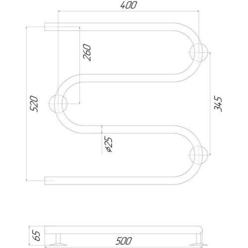 Эл. полотенцесушитель левое подкл. Qtap Snake (CRM) 500×500 LE 29373Qtap (Чехия)