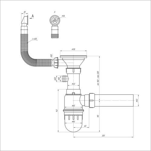 Сифон для кухни, выпуск 3 1/2″ (выход 50 мм) с круглым переливом Imperial 104 29411IMPERIAL