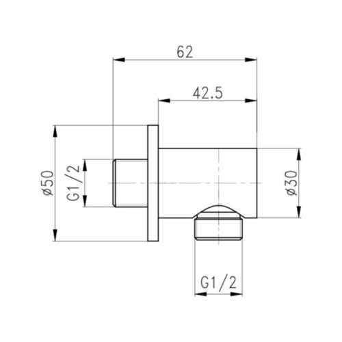Подключение для душевого шланга Qtap CRM B030 29617Qtap (Чехия)