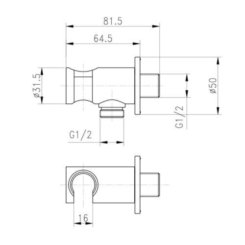Подключение душевого шланга с держателем для лейки Qtap CRM BH030 29619Qtap (Чехия)