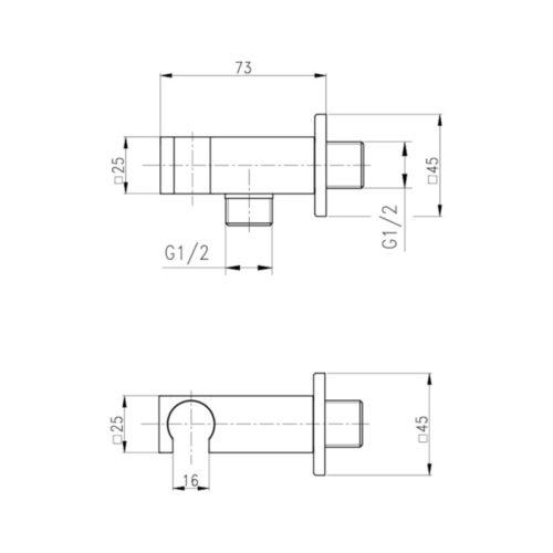 Подключение душевого шланга с держателем для лейки Qtap CRM BH130 29620Qtap (Чехия)