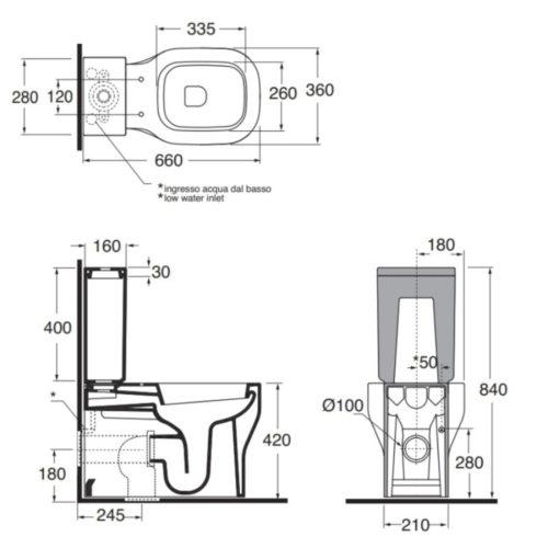 Унитаз+сидение+бачок+слив.механизм Azzurra (Комплект) Glaze GLZ110B1/MBP 30666AZZURRA