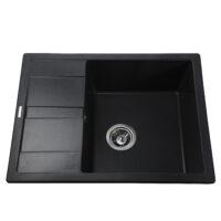 Гранитная мойка Globus Lux ONE черный металлик 650х500